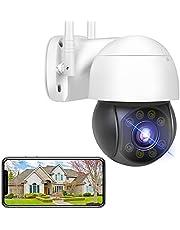 Full HD 5MP WiFi bewakingscamera buiten PTZ WLAN IP-camera buiten, spraakalarm kleurnachtzicht automatische tracking waterdicht IP66 2-weg audio bewegingsdetectie alarm (camera + 128 G-SD-kaart)