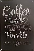 2個 コーヒーはすべてを可能にしますメタルティンサインホテルバーパブマンケーブカフェホームキッチンハンギングアートワークプラークウォールアート装飾ヴィンテージサインギフト12インチX8インチ(30cm X 20cm) メタルプレート レトロ アメリカン ブリキ 看板