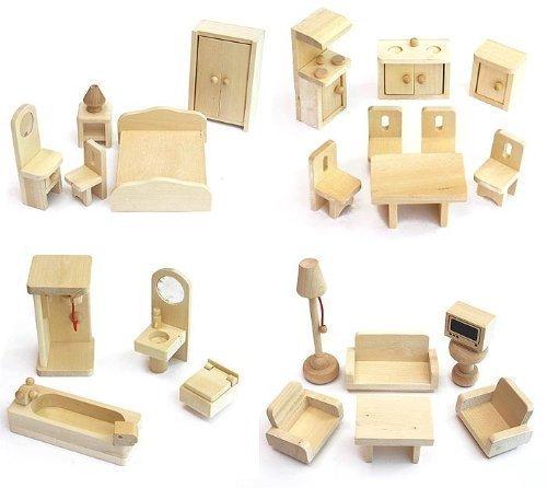 VDP Freda - Conjunto de Muebles para casa de muñecas (Madera, 28 Piezas)