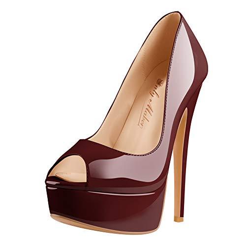 Onlymaker Damen Plateau Peeptoe Pumps Elegante Stiletto High Heels mit Lack Optik Brautschuhe für Hochzeit Party Rot 42 EU