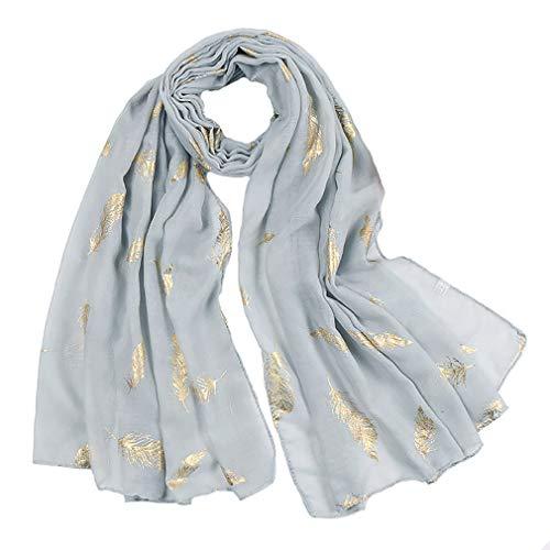 KAVINGKALY Bufandas de plumas de aluminio bronceado para mujer Bufanda liviana con...