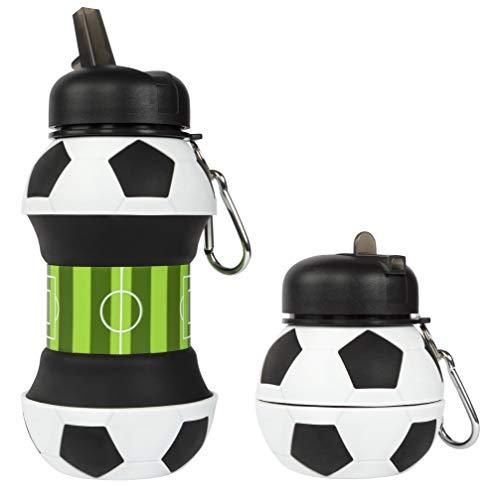 Fringoo Silikonowa składana butelka na napoje dla dzieci 500 ml / 17 uncji z klipsem na karabińczyk, szczelna butelka na napoje do podróży (piłka nożna, 550 ml - 19 uncji)