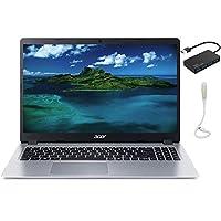 Acer Aspire 5スリムラップトップ、15.6インチ FHD IPS 1080Pコンピューター、AMD Ryzen 3 3200U、Vega 3 Graphics、8GB DDR4、256GB SSD、バックライト KB、Win 10 S シルバー、TSBEAU USBハブ+USB LEDライト付き