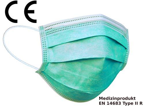 Mundschutz 3-lagig mit Gummiband und Nasenbügel - OP Mundschutz, Einweg-Maske