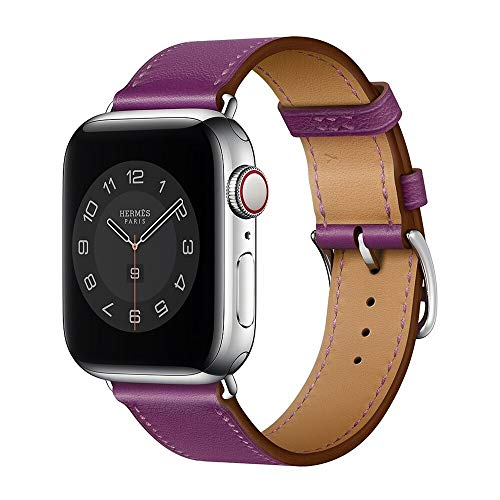 Hspcam Correa de cuero real para Apple Watch Band 6, SE, 5, 4, 42 mm, 38 mm, 44 mm, 40 mm, correa para iWatch 3, 2, 1 (44 mm, loto morado)