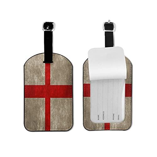 Tvuirw Bandiera Inghilterra Etichetta Bagagli In Microfibra PU Pelle Sintetica Etichetta Bagagli Unisex Universale Viaggio Indossare Carino Piccolo Etichetta Bagaglio