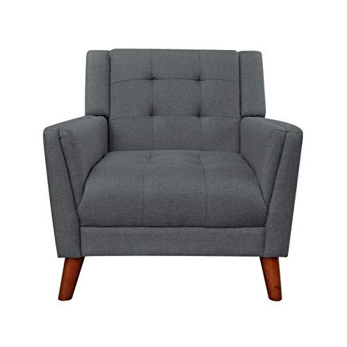 Evelyn Mid Century Modern Fabric Dark Gray Arm Chair