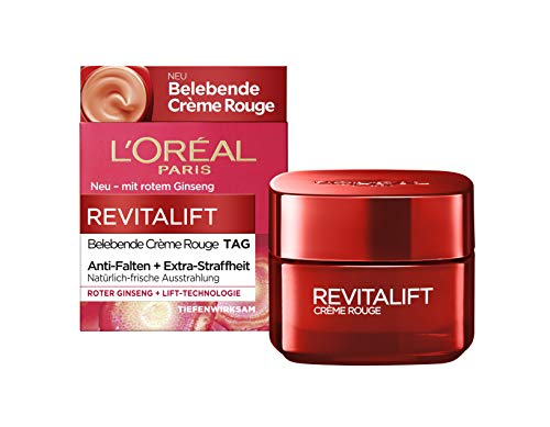 L'Oréal Paris Tagespflege, Revitalift Belebende Crème Rouge, Anti-Aging Gesichtspflege, Anti-Falten, Extra-Straffheit, Mit rotem Ginseng, 50 ml