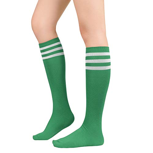 Womens Athletic Socks Outdoor Sports Compression Running Training Socks Casual Tube Socks 1 Pack Green White