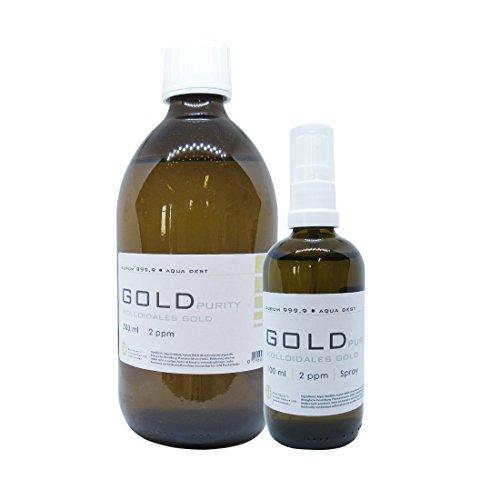 Spray Aurum puro de 500 ml, botella de 2 ppm + 100 ml, 2 ppm
