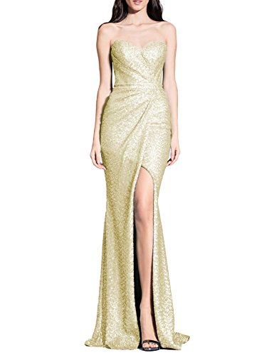YSMei Women's Long Strapless Evening Dress Mermaid Slit Cocktail Party Gowns Light Gold 14
