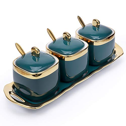 Emerald Glaze Porcelain Condiment Jar Spice Container with Lids, Spoons & Serving Tray Ceramic ,Condiment Jar for Sugar, Serving, Tea, Coffee, Spice, Salt for Kitchen Cupboard Dinning Storage,Set of 3