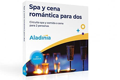 ALADINIA SPA y Cena romántica para Dos. Pack de experiencias Originales para Regalar. Cofre Relax con Cena Gourmet, Regalo Ideal para Parejas. No caduca, Cambios de Experiencia Gratis y sin limites