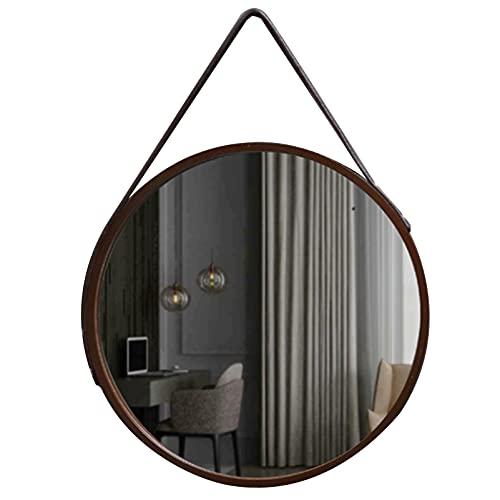 LIPINCMX Espejo Redondo Elegante con Marco de Madera y Espejo Colgante con Correa de Cuero para Entrada, Dormitorio, baño, tocador, Φ30cm