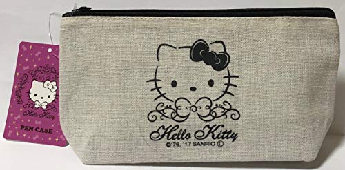 Sanrio Hello Kitty Pencil Case Bag Pouch Canvas Stationary Makeup Cosmetic Bag (Black)