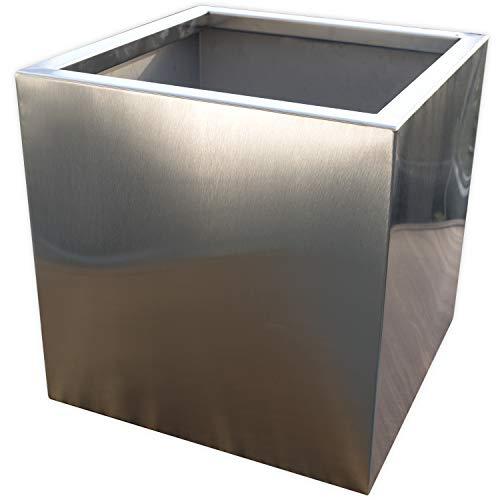Köhko® Designer-Pflanzkübel aus Edelstahl VIVO 50 x 50 x 50 cm | matt gebürsteter Pflanzgefäß eckig & groß