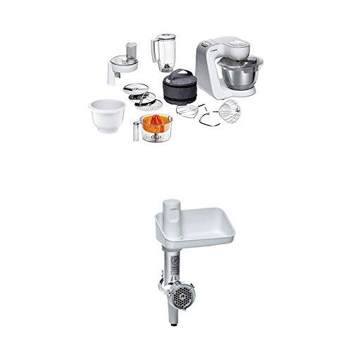 Bosch MUM58243 Küchenmaschine CreationLine, 1000 W, 3,9 l Edelstahl-Rührschüssel, 3D Rührsystem, 7 Schaltstufen, weiß/silber + MUZ5FW1 Fleischwolf weiß/aludruckguss