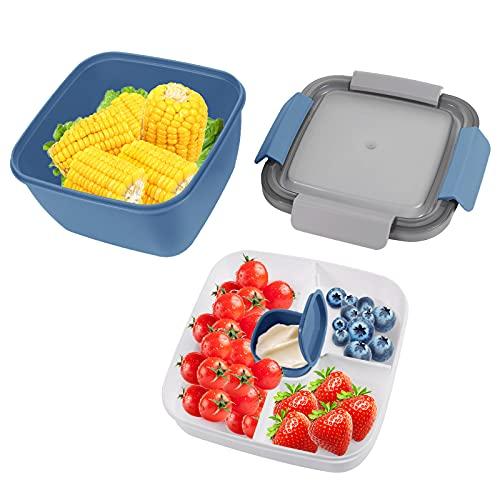 Bento Box Hermetico, Lunch Bento Box con 3 Compartimentos y Cubiertos, Fiambreras bento, Fiambrera infantil adecuada para hornos de microondas y lavavajillas(1500 ML) (Azul)
