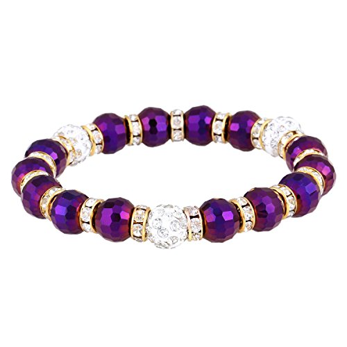 Morella Damen Armband mit facettierten Glasperlen und Zirkonia Beads elastisch lila Gold