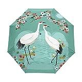 HLive Travel Umbrella Japanese Cranes Auto Open Compact Folding Sun & Rain Protection Umbrella with UV Protection Windproof