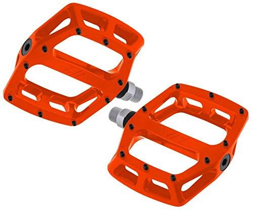Dmr V12 Flat MTB Pedals - Tango Orange/Mountain Biking Bike Bicycle Cycling Cycle Wide Platform Dirt Jump Trail Enduro Freeride Downhill Grip Nylon Part Riding Ride Cro-mo Axle Pair Sticky Pin