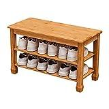 RANRANJJ Zapatero Simple casa de bambú Ahorro de Espacio Multifuncional Zapato Gabinete Puede Sentarse y Cambio de Zapatos de heces