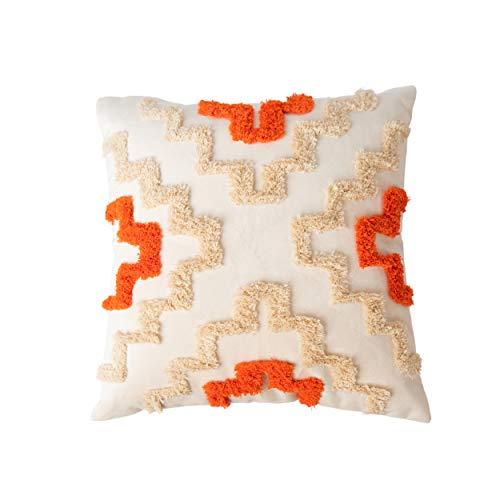 YayBesh Funda de cojín decorativa color blanco crema de 45,7 x 45,7 cm, con patrón geométrico de felpa, para sofá de sala de estar, sofá, dormitorio, decoración de 1 unidad (crema y naranja)