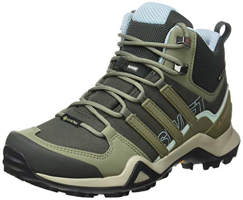 adidas Womens TERREX Swift R2 Mid GTX Walking Shoe, Legend Earth/Legacy Green/Ash Grey, 39 1/3 EU