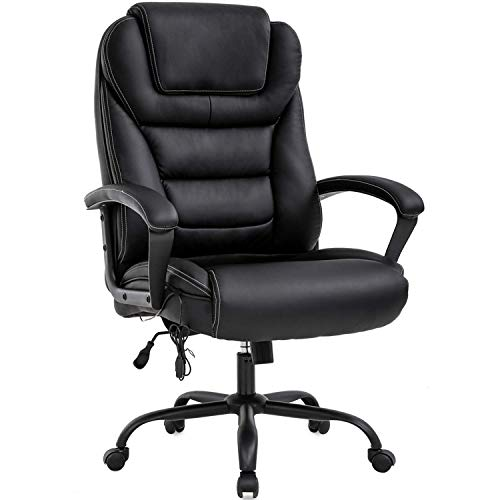 Executive Office Chair -500lbs Big and Tall Office Chair PU Leather Computer Chair with Spring Cushion, Armrest & Lumbar Support Ergonomic Desk Chair for Heavy People Men Swivel Task Chair, Black