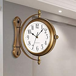 Double-Sided Wall Clock, Double-Sided Wall Clock Station Retro Dial with Stem Fixing Pendulum for Indoor and Outdoor Home Garden Metal, Quiet, Easy Read Two Faces Retro Station Clock,Antique Silver