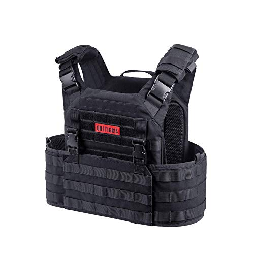 OneTigris Military Air Fast Plate Carrier Quick-release Breathable 500D Cordura Tactical Vest for Paintball Airsoft Wargame CS (Black)