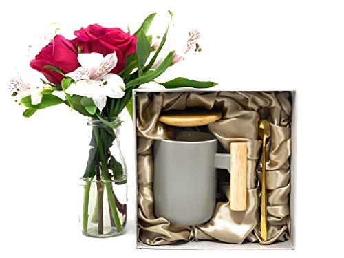 Ceramic Coffee Mug Set with Bamboo Lid and Spoon - Coffee Mug for Women and Men - 3 Piece Set, 13 OZ (Gray)