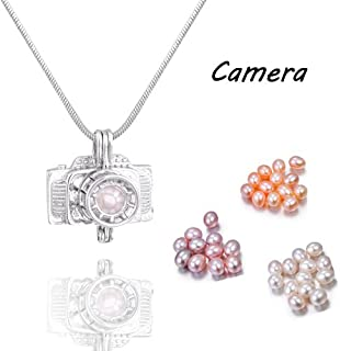 10PCS Camera Design Recording Beautiful Meaning Pearl Cage Pendant Silver Gold Plated Hollow Locket for Women