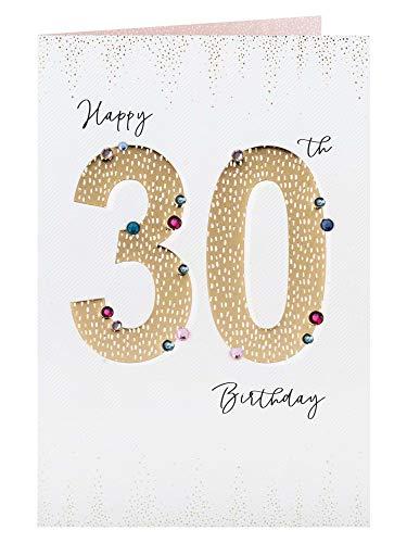 Clintons: Tarjeta de felicitación de 30 cumpleaños con números dorados, 235 x 155 mm, multicolor, 1153035