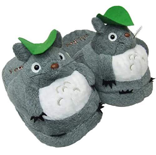 Qianyuyu Totoro Winter Baumwolle Pantoffeln Damen Herren Warme Hausschuhe Winter Mädchen Jungen Home rutschfeste Slippers Cartoon Hayao Miyazaki Mein Nachbar Totoro Hausschuhe,001,35/43EU