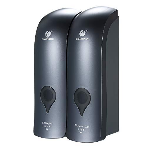 Decdeal 2-Fach Seifenspender Wandbefestigung ohne Bohren 2 x 300ml Hygienespender Shampoospender Flüssigseifenspender für Duschgel Shampoo Seife (grau)