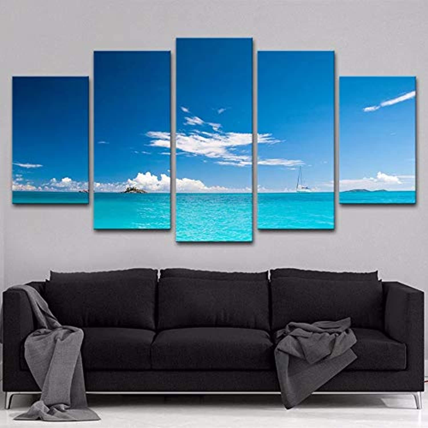 Living Room Modular Poster Frame HD Interior 5 Piece Pcs bluee Sea Landscape Modern Canvas Printed Picture Painting Wall Art