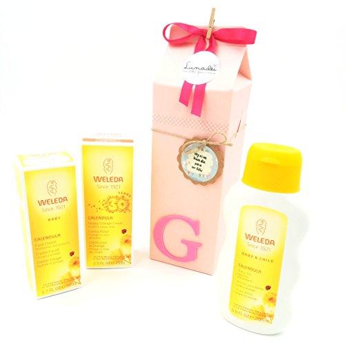 Cadeau très utile et original pour les nouveau-nés   À lait avec trois crèmes de la gamme BIO Calendula   Idée de cadeau de douche de bébé   Ton rose, pour les filles