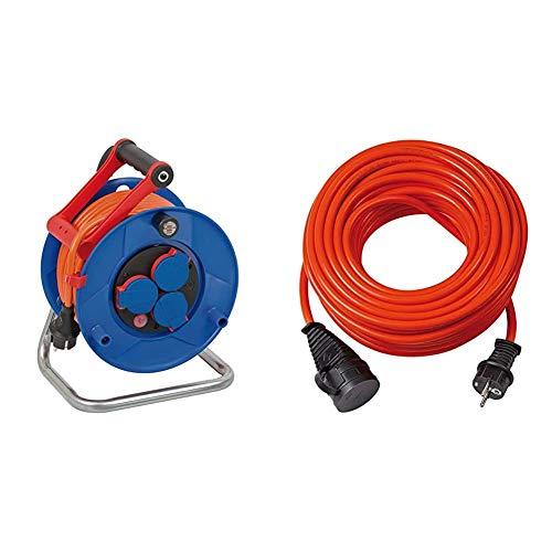 Brennenstuhl Garant IP44 Kabeltrommel (25m Kabel in orange, Spezialkunststoff, Einsatz im Außenbereich) & BREMAXX Verlängerungskabel (10m Kabel in orange, Stromkabel einsetzbar bis -35 °C)