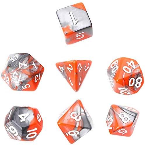 YiGaTech Giochi a 7 Pezzi, Giochi di Dadi in Acrilico Gioco su più Lati, Tavolo Poliedrico D4-D20 (Arancione Grigio)