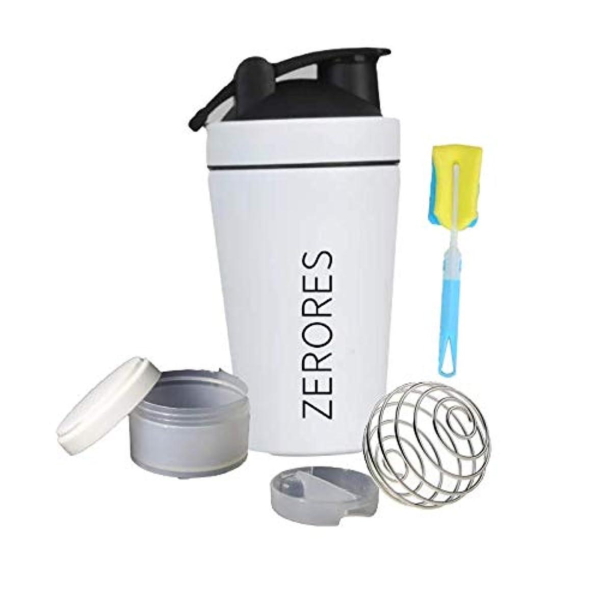 お表現無駄にZERORESステンレススチールスポーツウォーターボトルシェーカーカップ、漏れ防止、BPAフリー(白) 600ML