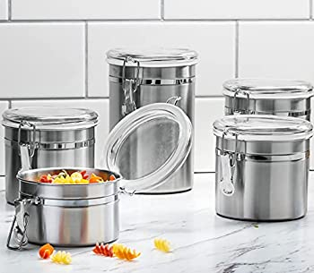 Le raze [Set of 5] Stainless Steel Airtight Canister Set Durable Stackable Caddy & Food Storage Container for Kitchen Counter Tea Sugar Coffee Candy Flour Canister with Clear Acrylic Lids & Locking Clamp