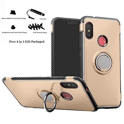 Labanema Xiaomi Mi A2 Lite/Redmi 6 Pro Funda, 360 Rotating Ring Grip Stand Holder Capa TPU + PC Shockproof Anti-rasguños teléfono Caso protección Cáscara Cover para Mi A2 Lite/Redmi 6 Pro - Oro
