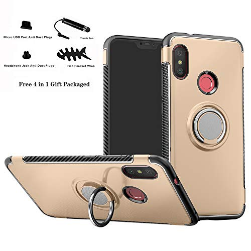 Labanema Xiaomi Mi A2 Lite/Redmi 6 Pro Funda, 360 Rotating Ring Grip Stand Holder Capa TPU + PC Shockproof Anti-rasguños teléfono Caso protección Cáscara Cover para Mi A2 Lite/Redmi 6 Pro - Oro