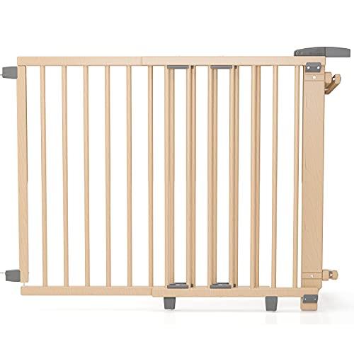 Geuther, Schwenk Treppenschutzgitter 2735WE für Kinder Hunde und Katzen Befestigung mit SchraubenKlemmen am Geländer verstellbar Holz, weiß, 95 - 35 cm