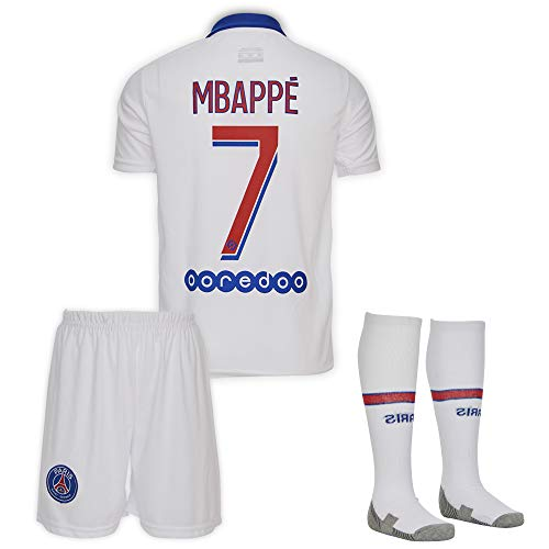 Paris #7 Mbappe 2019-2020 Auswärts Kinder Fußball Trikot Hose und Socken Kindergrößen