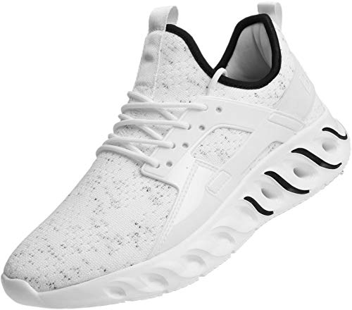 BRONAX Mens Shoes Lace Up Tennis Walking Running Gym Sports Workout Gym Athletic Sneakers for Male White Zapatos de Hombre Size 13
