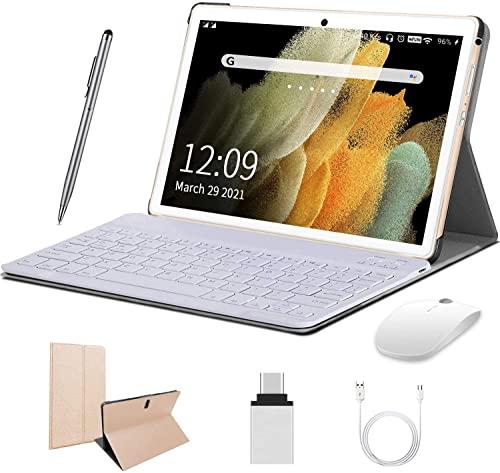 4G Tablet 10 Zoll Android 10.0, 2 in1 Tablet mit Tastatur 4 GB RAM und 64 GB ROM, 8000 mAh Quad-Core, Dual SIM,WiFi,Bluetooth, GPS, OTG, Typ C - Gold