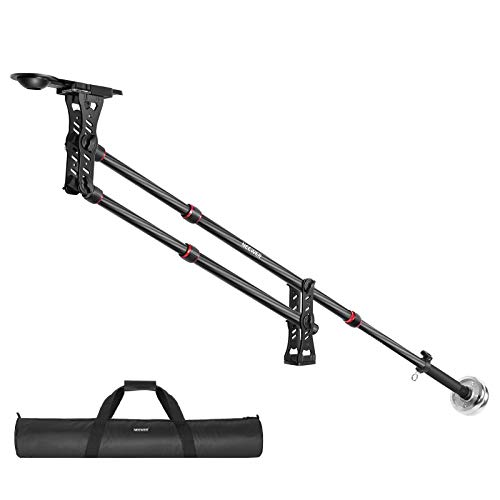 Neewer 75.7 inches/ 200Centimeters Carbon Fiber Jib Arm Camera Crane with 1/4 and 3/8-inch Quick Shoe Plate, Counter Weight for DSLR Video Cameras,Load up to 8 Kilograms/17.6 Pounds
