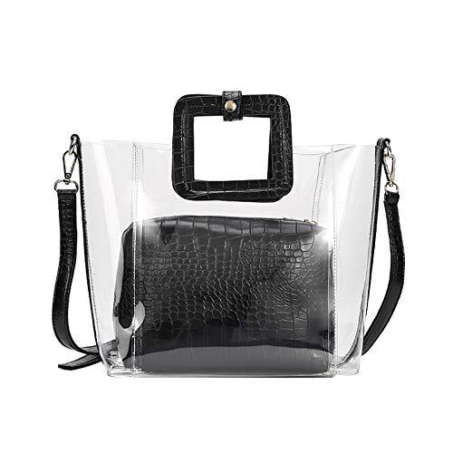 YCUDS Bolso Transparente para Mujer con Asa Superior Bolso Mensajero Bolsos de Hombro, Bolsos de Playa Pequeños para Mujer, Bolsos de Moda de Gelatina Transparente Negro.